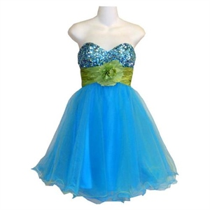 Prom Dress Layered Of Tulle And Sequin With A Matching Taffeta Flower