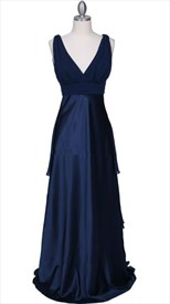 Beautiful Royal Blue Pleated Empire Waist Prom Evening Dress