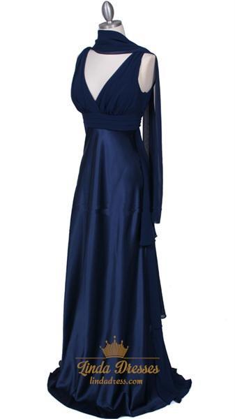 Beautiful Royal Blue Pleated Empire Waist Prom Evening Dress
