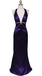 Sparkling Purple Rhinestone Trim Evening Dress With Deep V-neck line