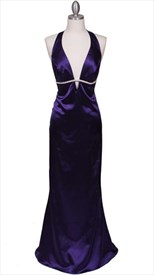 Sparkling Purple Rhinestone Trim Evening Dress With Deep V-neck line