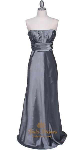 Pleated Silver Bodice Evening Prom Dress With Empire Waist