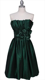 Beautiful Taffeta Pleated Bodice Cocktail Dress
