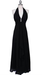 Gorgeous Black Chiffon Evening Prom Dress With V Neckline
