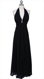 Gorgeous Black Chiffon Evening Prom Dress With V Neckline