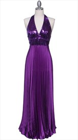Pleated Purple Satin Halter Neck Evening Prom Dress With V Neckline