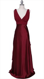 Pleated Wine Red Empire Waist Evening Dress With Front And Back V Neckline