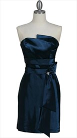 Elegant Navy Blue Strapless Sheath Cocktail Dress