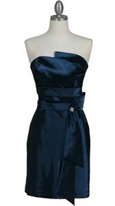 Elegant Navy Blue Strapless Sheath Cocktail Dress
