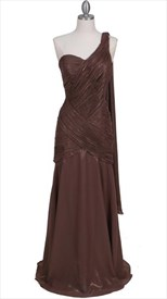Light Coffee One Shoulder Evening Dress