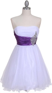 White Purple Strapless Cocktail Dress With Faceted Jewels