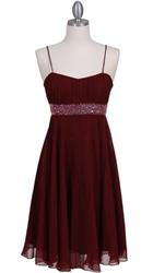 Chic Wine Red Cocktail Dress With Pleated Bodice