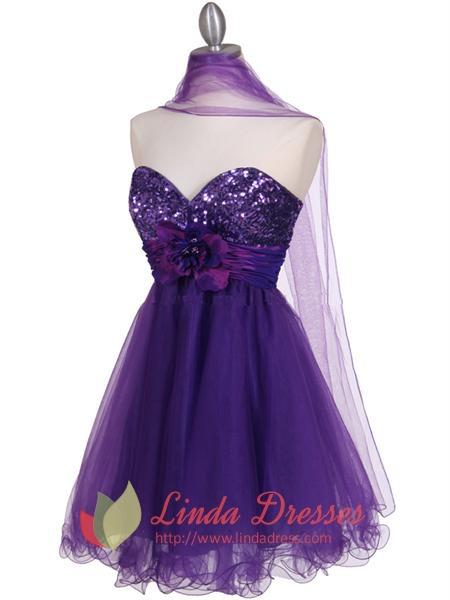 Cheap Short Purple Cocktail Dresses 28