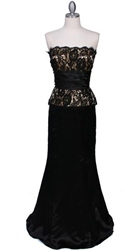 Elegant Strapless Black Gold Evening Gown Dress