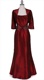 Wine Taffeta Evening Dress With Bolero Jacket