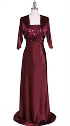 Wine Sequins Evening Dress With Bolero Jacket