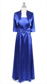 Royal Blue Charmeuse Evening Dress With Bolero Jacket