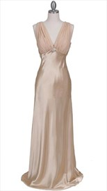 Dazzling Floor-length Gold Satin Evening Dress