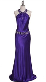 Glamorous Charmeuse Gown Purple Beaded Evening Dress