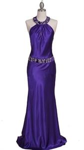 Glamorous Charmeuse Gown Purple Beaded Evening Dress