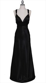 Stunning Black Satin Evening Dress Sparkling Rhinestone