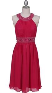 Gorgeous Light Weight Chiffon Fuschia Beaded Cocktail Dress