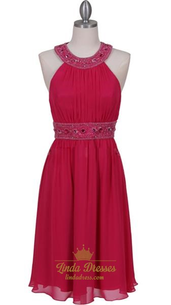 Gorgeous Light Weight Chiffon Fuschia Beaded Cocktail Dress