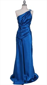 Elegant Blue One Shoulder Evening Dress