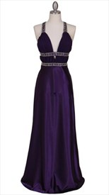 Stunning Purple Satin Evening Dress With Rhhinestone And Silvertone
