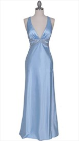 Stunning Baby Blue Satin Evening Dress