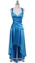 Show details for Turquoise Satin Wide Shoulder Straps Cocktail Dress