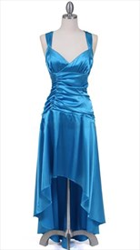 Turquoise Satin Wide Shoulder Straps Cocktail Dress
