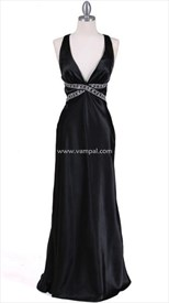 Stunning Black Satin Gown Evening Dress