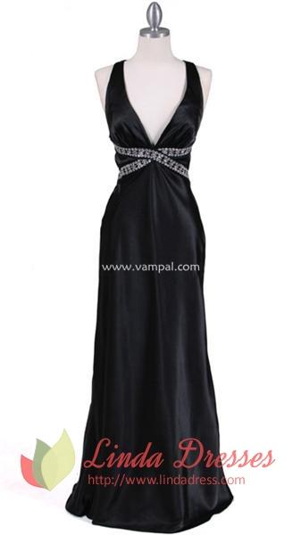 Stunning Black Satin Gown Evening Dress   Linda Dress