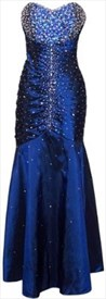 Beaded Stunning Strapless Taffeta Sapphire Blue Prom Evening Dress