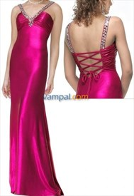 Sizzling Hot Pink Satin V Neck With Silver Jewel 2019 Prom Dresses