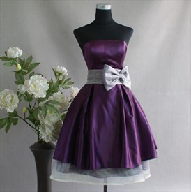 Exquisite Strapless Charmeuse Princess Dress With Bow Waist