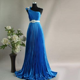 Elegant Blue Crinkling One Shoulder 2019 Prom Evening Dress