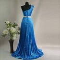 Show details for Elegant Blue Crinkling One Shoulder 2021 Prom Evening Dress