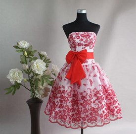 White And Red Flower Girl Dresses,Short White And Red Dresses