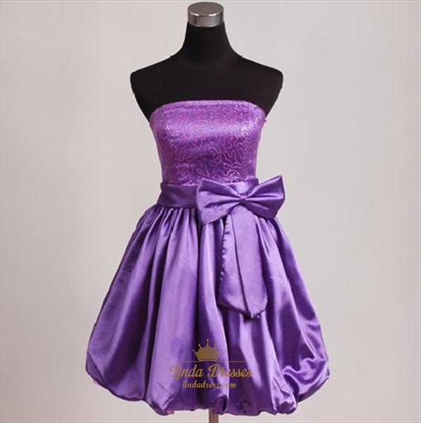 Brilliant Purple Sequin 2019 Short Cocktail Dress With Bow