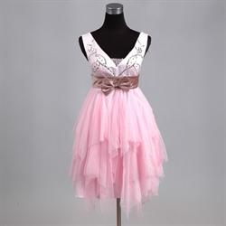 Glamorous Pink Soft Net 2016 Short Cocktail Dress V-neck