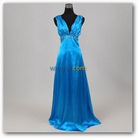 Imprissive Sheath Sea Blue Beaded 2019 Prom Dress V-Neckline