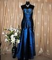 Show details for Beaded Stunning Strapless Taffeta Sapphire Blue Prom Evening Dress