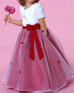 Flirtatious White Red Satin Organza 2021 Flower Girl Dresses