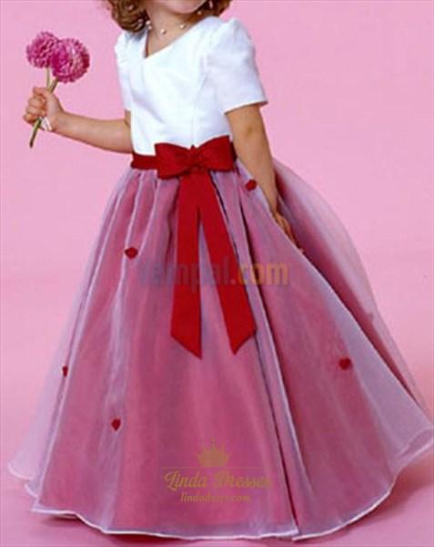 Flirtatious White Red Satin Organza 2019 Flower Girl Dresses