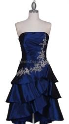 Royal Blue Taffeta Tier Cocktail Dress