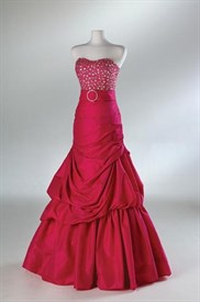 Hot Pink Mermaid Taffeta Beading Prom Dress Evening Gowns
