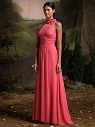Chiffon Halter Bridesmaid Dresses, Fuchsia Bridesmaid Dresses, Empire