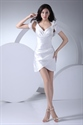 Show details for Stylish White V Neck Short Cocktail Dress With Side Drape And Jacket